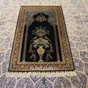 Yilong 3and039x5and039 Blue Praying Hand-knotted Silk Carpet High Density 300line Rug 284h