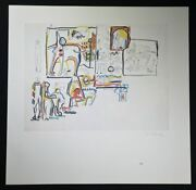 Jackson Pollock, Beautiful Hand Signed Lithograph People And Animals, With Coa