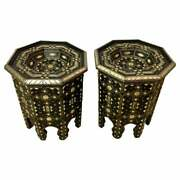 Pair Of Modern Moroccan Ebonized Wood With White Brass And Bone Inlaid Tables
