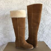 Ugg Classic Femme Over The Knee Chestnut Suede Fur Wedge Tall Boots Size 9 Women