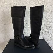 Ugg Classic Berge Tall Black Leather Shearling Knee High Boots Size Us 6 Womens