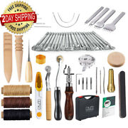 59 Pieces Leather Working Tools Kit For Hand Sewing Stitching And Stamping Set