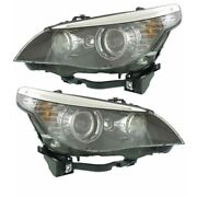 08-10 Bmw 5-series Front Headlight Headlamp Hid/xenon Head Light Lamp Set Pair