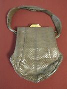 Unique Very Rare Vintage 1950and039s Bellstone Snakeskin Handbag With Purse And Mirror