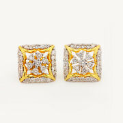 15x12x15 Mm Solid 14k Yellow Gold Natural Pave Diamond Stud Earrings