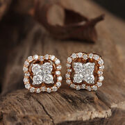 18x10 Mm Solid 14k Rose Gold Natural Pave 1.07ct Diamond Stud Earrings Jewelry