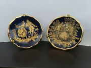 Set Of Two Limoges France Miniature Colbalt Blue Plates With Gold Trim