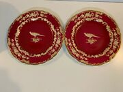Vintage Spode English Pair Of Burgundy Bird Plates With Gold Floral Decorations
