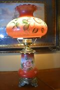 Antique Vintage Gwtw Hurricane Gone With The Wind Lamp Red