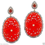 Carved Gemstone 925 Silver Dangle Earrings Diamond Pave 14 K Gold Vintage Style