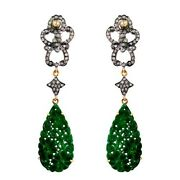 9.32ct Carved Onyx Dangle Earrings 14k Gold Pave Diamond Sterling Silver Jewelry