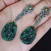 Carved Emerald Gemstone 925 Silver Pave Diamond 14k Gold Dangle Earrings Jewelry