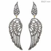 New 7.6ct Diamond Pave 925 Silver Angel Wing Dangle Earrings 14k Gold Jewelry Qy