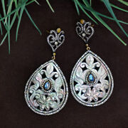 Carved Mop 14k Gold Pave Diamond Dangle Earrings 925 Silver Vintage Look Jewelry