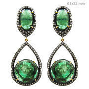 2ct Pave Diamond Dangle Earrings 14k Gold Emerald 925 Silver Mothers Day Jewelry