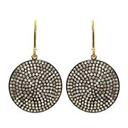 14k Gold Natural Diamond Pave Vintage Hook Earrings Sterling Silver Jewelry Ct