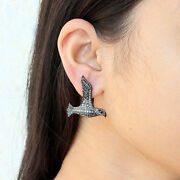 1.69ct Diamond Pave Bird Clip Earrings Sterling Silver Motherand039s Gift Jewelry Py