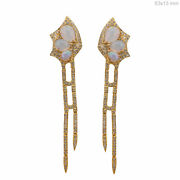 Gemstone Opal Dangle Earrings Solid 18k Yellow Gold Natural Pave Diamond Jewelry