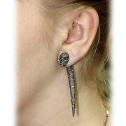 14k Gold Pave Diamond Skull Tunnel Earrings Sterling Silver Handmade Jewelry Qy