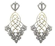 Pave Diamond Antique Finish Dangle Earrings 14k Gold Sterling Silver Jewelry Oy