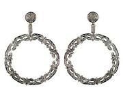 4.2ct Diamond Pave 14k Gold Vintage 925 Silver Dangle Earrings Christmas Jewelry