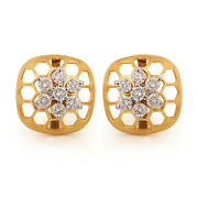 14k Yellow Solid Gold Bee Hive Stud Earrings Pave Natural Diamond Fine Jewelry