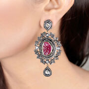 Carved Ruby 925 Silver Pave 5.29ct Rose Cut Diamond Dangle Earrings Christmas