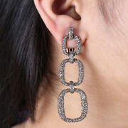 925 Sterling Silver 5.62ct Diamond Pave Long Dangle Earrings Jewelry New Arrival