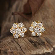 Pave Natural Diamond Solid 14k Yellow Gold Stud Earrings Jewelry Mother Day Gift