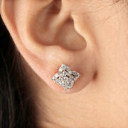 Pave Natural Diamond Stud Earrings Solid 14k Yellow Gold Jewelry Motherand039s Gift