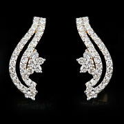 Solid 14k Yellow Gold Diamond Pave Stud Earrings Vintage Style Valentine Jewelry