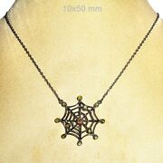 Pave Diamond Spider Web Pendant Chain Necklace Sterling Silver Fine Jewelry Py