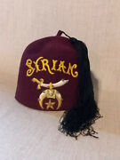 Masonic Shriner's Syrian Fez Hat With Tassel And Pin Size 9