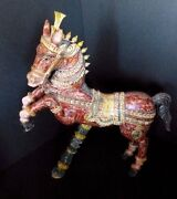 Vintage Wooden Horse Sculpture Hand Carved Polychrome Animal Christmas Gift