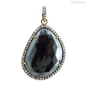 Spinel Pendant 14k Gold Diamond Studded Sterling Silver Antique Style Jewelry Py