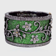Natural Rose Cut Diamond And Peridot And 925 Sterling Silver Bangle Bracelet