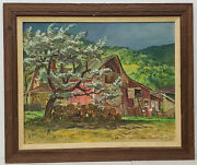 Cecil Crosley Bell Silver Maple Barn At Blanchards Oil Painting C.1950s
