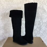 Ugg Classic Femme Over The Knee Black Suede Fur Wedge Tall Boots Size 7 Womens