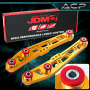 Gold Lower Control Arm Cross Design Jdm Sport W/ Red Bushings For 92-95 Civic