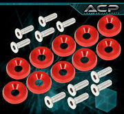 Hex Screw Bolt On Concave Luxury Engine Bay Fender Washer 10pc Kit Red For Acura