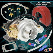 T3 T4 Turbo Turbocharge V-band + Oil Drain Feed Line + Heat Shield Cover Red