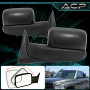 Pair Black Power Extended Extendable Trailer Tow Towing Mirrors 94-97 Ram 1500