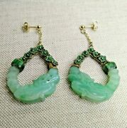 Antique A Pair Of Chinese Earrings Made From Gold Enamel And Green Jade.