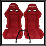 Bride Yellow Carbon Red Cloth Low Max Reclinable Bucket Racing Seat Pair