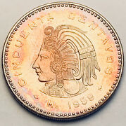 1959 Mexico 50 Centavos Stunning Toned Choice Unc Bu Multi Color Dr