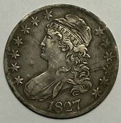 1827 Square Base 2 O-124 R-5+ Very Fine Vf Capped Bust Silver Us Half Dollar 50c