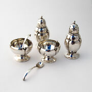Randahl Blossom Shakers Open Salts Spoons Set Sterling Silver 1930s