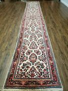 2and039 8 X 17and039 Vintage Oriental Indian Floral Hand Made Wool Runner Rug Ivory Nice