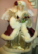 Grandin Road Gorgeous And Elaborate Faux Fur Christmas Tree Angel