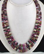 Natural Multi Tourmaline Melon Carved 3 Line 737 Carats Gemstone Beads Necklace